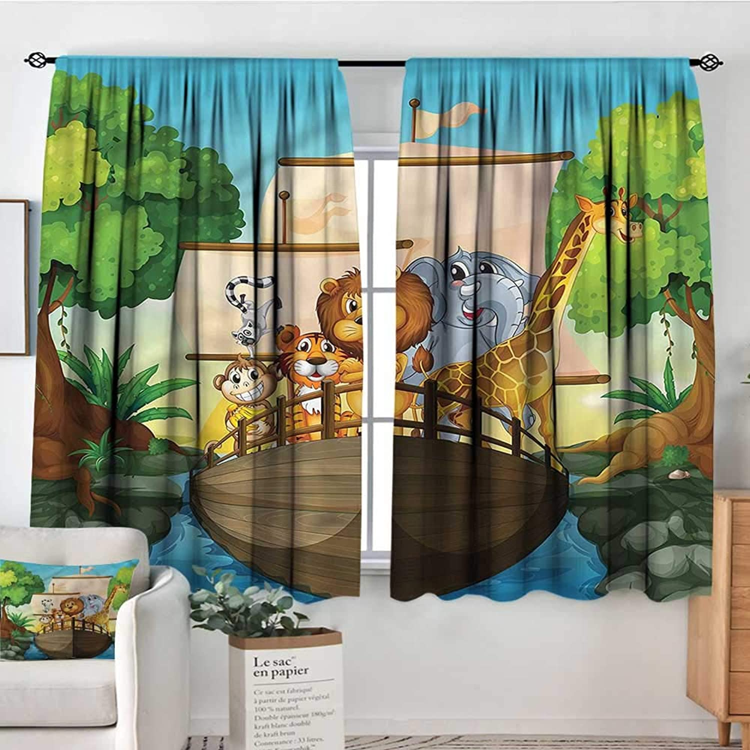 Familytaste Zoo,Indo Panes Drapes Floating Boat with Animals 42 X54  Kids Backout Curtains for Bedroom