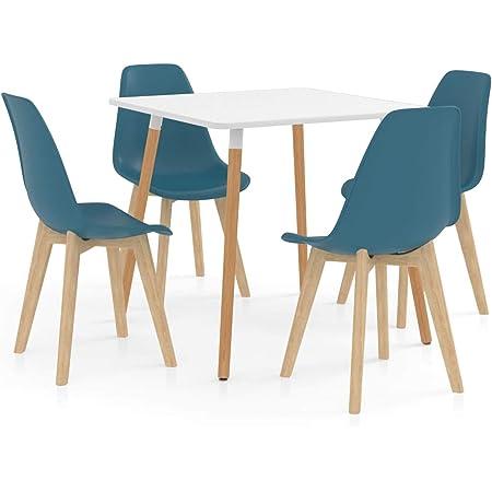 Festnight Ensemble de Salle à Manger ou Cuisine 1 Table et 4 Chaises Turquoise