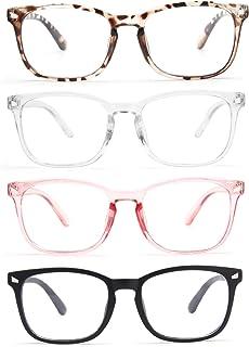 CCVOO 4 Pack Blue Light Blocking Reading Glasses, Anti Headache/Glare/Eye Strain Readers Computer Eyeglasses Women/Men