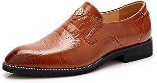 革靴 メンズシューズ ビジネスシューズ 通気性 レザー クロコダイルスキンテクスチャ 紳士靴 ローファー (Color : ダークブラウン, サイズ : CN25)