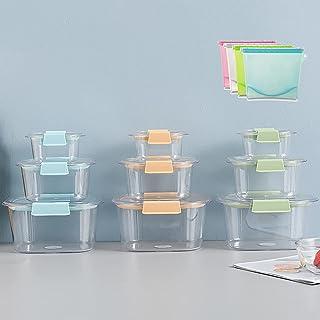 Ensemble De Contenants De Stockage Des Aliments En Plastique, Contenants De Préparation De Repas Avec Sacs Alimentaires Ré...