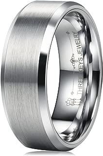 4mm 8mm Tungsten Wedding Rings Brushed Polished Center Beveled Edge Wedding Band Engagement Ring