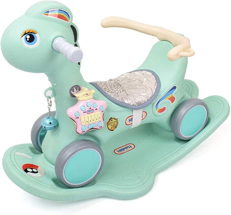 100% a estrenar con calidad original. QYS Scooter de Caballo para Niños de Doble Uso, Uso, Uso, un año de Edad, Juguete de Regalo para bebés Cuna Mecedora Pony,verde  tienda hace compras y ventas