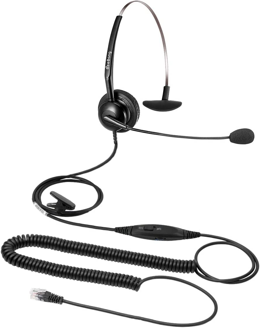 Corded RJ9 Telephone Headset with Noise Cancelling Microphone Mic Mute Volume Control Jabra Compatible for Avaya Polycom Nortel