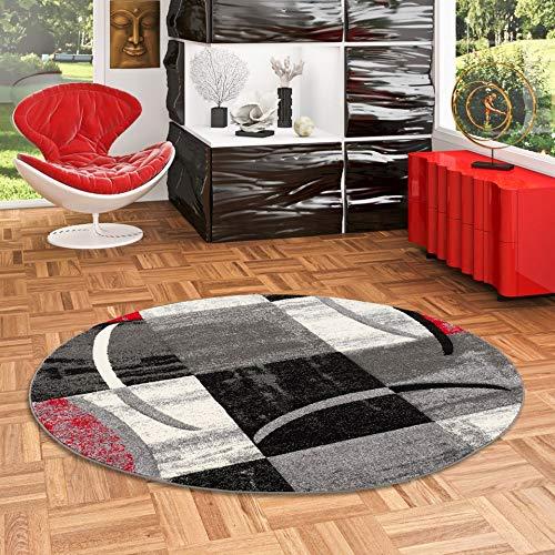 Designer Teppich Brilliant Karo Rot Grau Trend Rund in 3 Größen