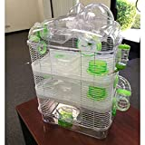 New Clear Transparent 3 Floor Levels Habitat Hamster Rodent Gerbil Mouse Mice Cage (Green)