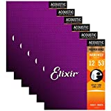 Elixir 16052 Acoustic Phosphor Bronze Nano Light 12-53 (6 Pack Bundle)