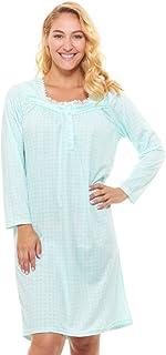 ملابس نوم نسائية بيجامة قطن - قميص نوم للنساء بأكمام طويلة قميص نوم