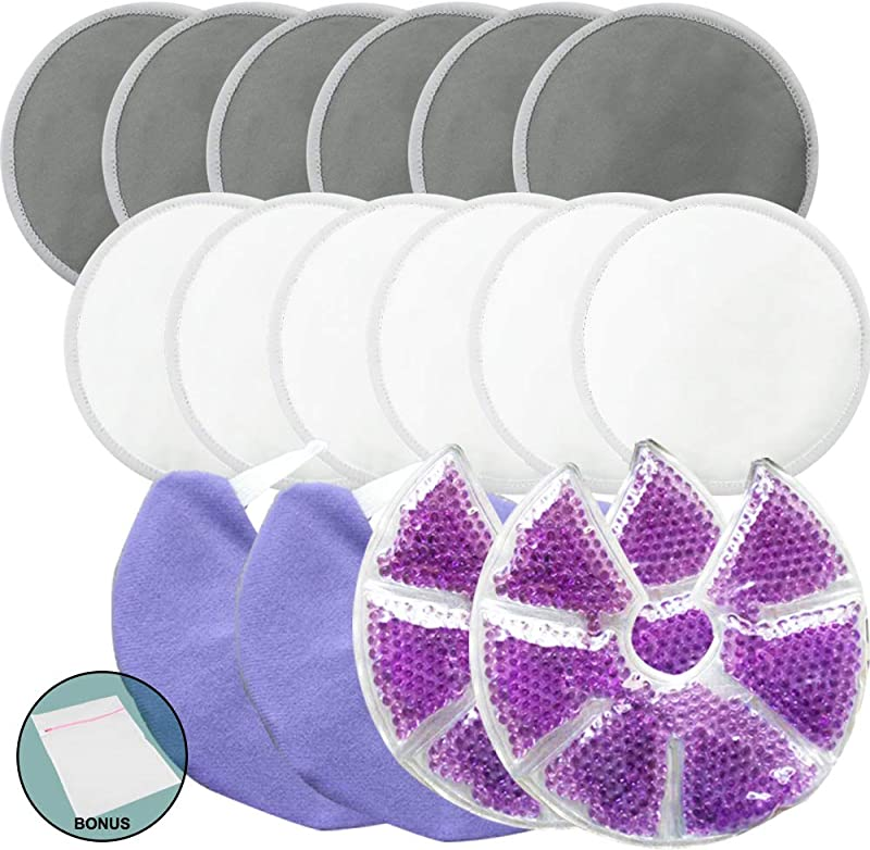 Jalousie Reusable Bamboo Fiber Nursing Pads And Breast Therapy Gel Pads Bundle With Bonus Laundry Bag Include 12 Bamboo Nursing Pads And 2 Gel Pads With Cover Bonus Laundry Bag