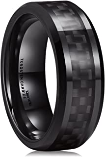 Gentleman 8mm Black Tungsten Carbide Ring Black/Red/Green/Blue Carbon Fiber Inlay Polished Finish Edges Comfort Fit