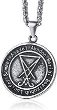 PJ Jewelry - Collar con colgante de pentagrama invertido de cabra satánica sabbática Lucifer Wiccan de acero inoxidable con sello de Satanás Sigil de Lucifer