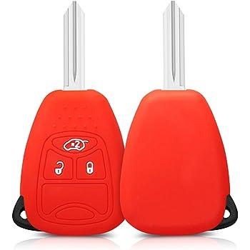 - Carcasa Protectora kwmobile Funda de Silicona para Llave de 3-7 Botones para Coche Jeep Dodge Chrysler de Solamente Keyless Silicona Suave - Case Mando de Auto Rojo