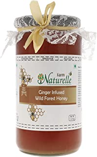 Farm Naturelle-Real Ginger Infused 100% Pure Raw Natural Wild Forest Honey (1 KG Glass Bottle) -Immense Medicinal Value