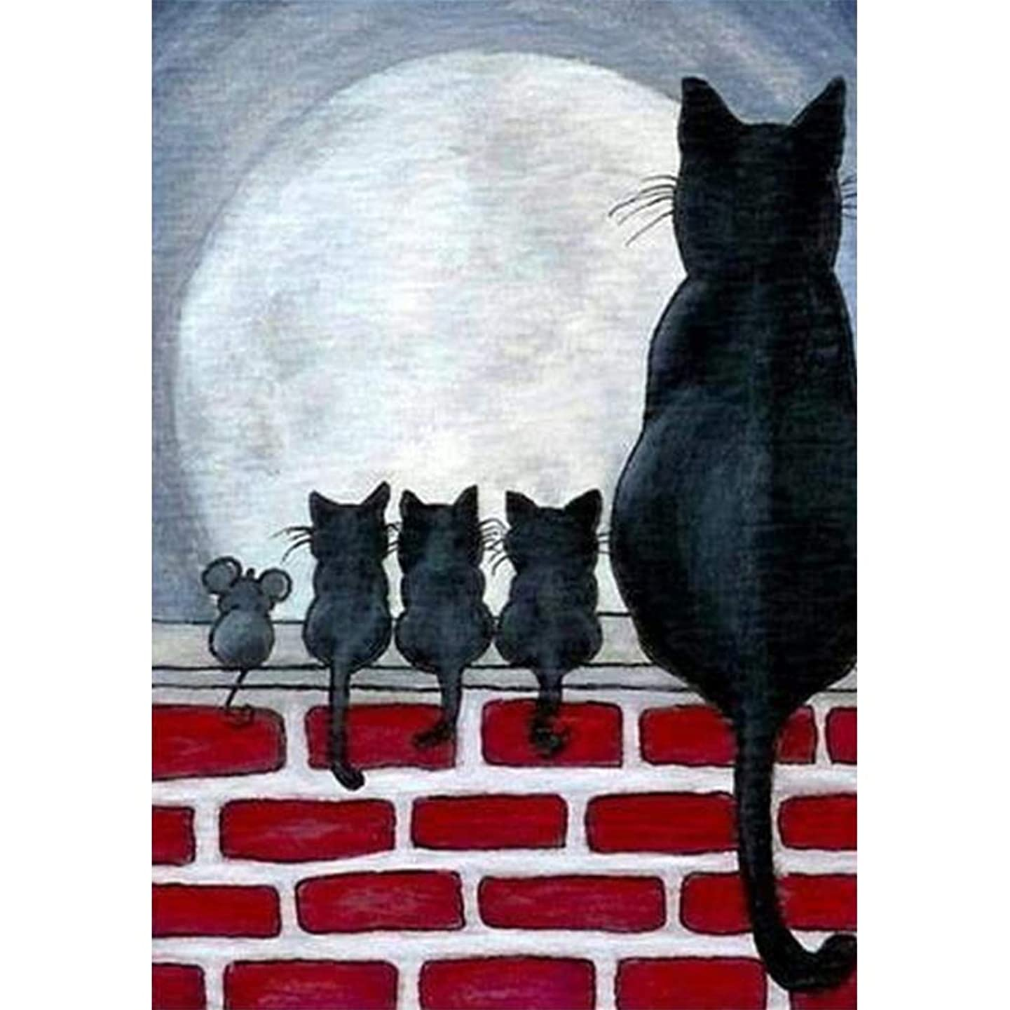 5D DIY Full Diamond Painting Kit Cat Back Diamonds Embroidery by Numbers Wall Diamond Art for Adult (11.8X15.7inch)