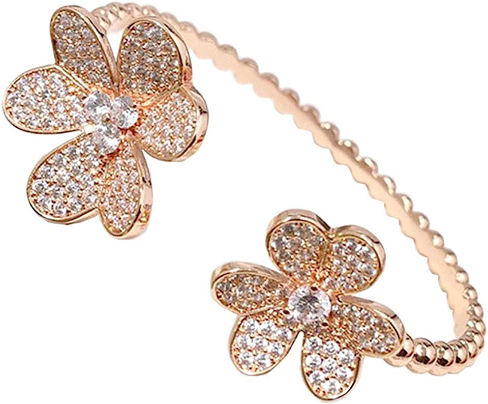 Fashion 4/Four Leaf Clover 3 Flowers Open Bracelet Bangle with Diamonds 18K Gold for Women&Girls Valentine's Mother's Day Engagement Jewelry Gift