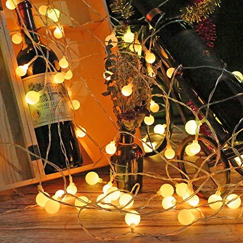 SHIJZWD Guirnalda de luces con forma de globo que funciona con pilas, 6 m, 40 luces LED para exteriores, con 2 modos, impermeable, decoración para Navidad, vacaciones, habitaciones, patio y jardín