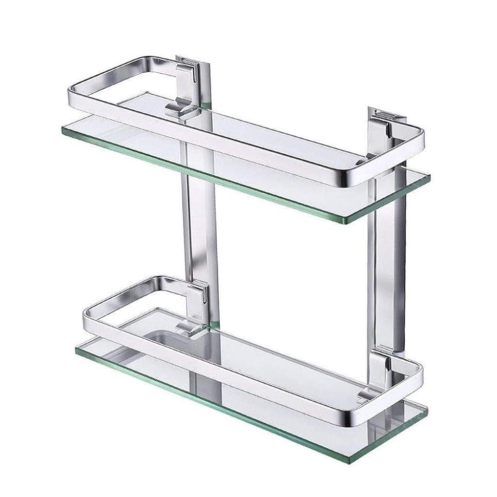 回転囲いプロポーショナルタオル掛け 2層浴室ガラス棚、シャワーキャディバスバスケット収納棚アルミ壁掛け棚ラック