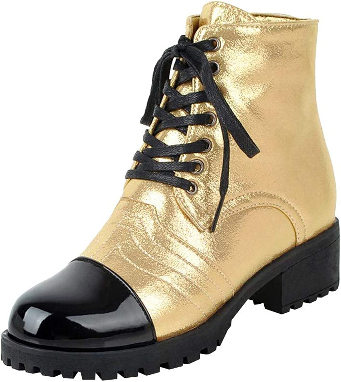 Womens Bright Leather Ankle Boots, Witspace Ladies Elegant Chelsea Martin Boots Vintage Lace Up Low Block Heel shoes
