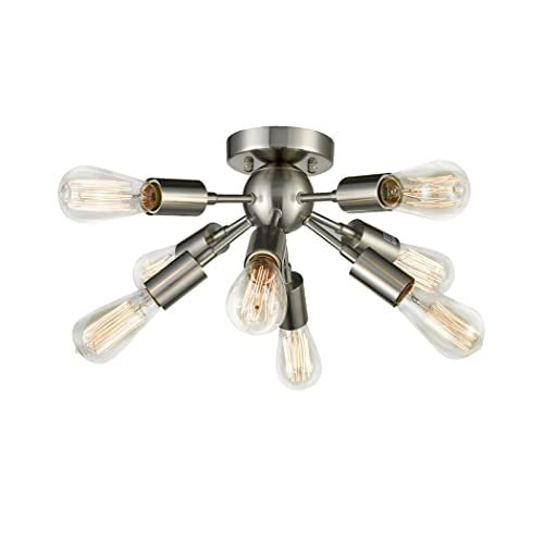 CLAXY Ecopower Brushed Nickel Sputnik Chandelier with 8 Socket Flush Mount Ceiling Light