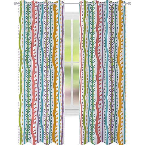Cortinas opacas para dormitorio, líneas verticales abstractas con espiral, curvadas, elegantes bandas y puntos, 2 paneles de ancho de 52 x 95 para sala de estar, dormitorio, multi
