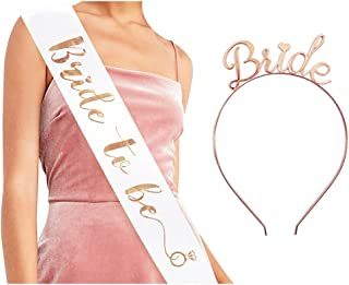 Bride to Be Sash & Headband Tiara Set - Accessories for Bachelorette Party Bridal Shower Hen Party (Rose Gold)
