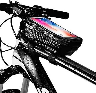 自転車トップチューブバッグ 自転車フレームバッグ 自転車バッグ 防水 防圧 遮光 スマートフォンフレーム バッグ 大容量 ヘッドホン穴あり タッチパネル操作可能 軽量 旅行/アウトドア/スポーツ