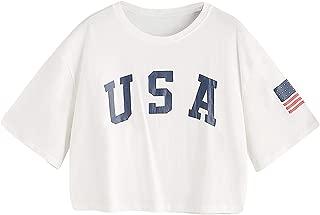 Women's USA Letter Print Crop Tops Summer Short Sleeve T-Shirt