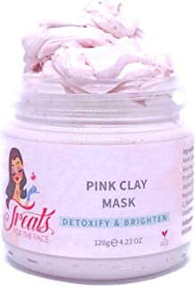 Treats for the Face TM- Australian Pink Clay Face Mask   100% Natural Kaolin Clay   Rose Infused   Purifying & Brightening   Deep Pore Minimizer   Blackhead Remover   All Skin Types   Vegan