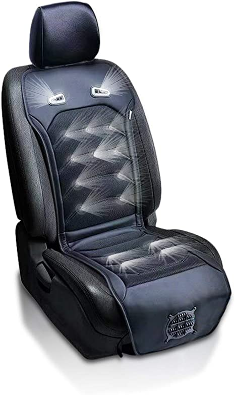 Zone Tech Cooling Car Seat Cushion -Black 12V Automotive Comfortable Massager Cooling Car Seat Cooler Pad-Air Conditioned Seat Cover. Perfect for summer, Road Trips, Cars, Trucks, SUV Seat Cooling Pad: image