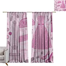 Andrea Sam Eclipse Curtains Heels and Dresses,Paris Fashion Atelier French Boutique Feminine Glamor Eiffel,Baby Pink Mauve Magenta W120 x L96 inch,Bedroom Blackout Curtains