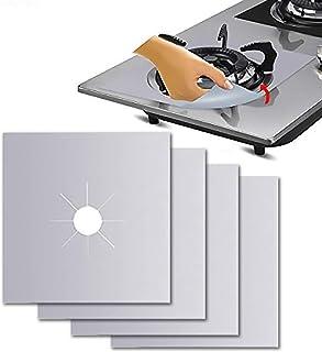 Rubik 4 pcs Gas Stove Burner Covers, Non-Stick Gas Range Protectors Reusable Aluminum Foil Cover Liner Mat Pad - Dishwashe...