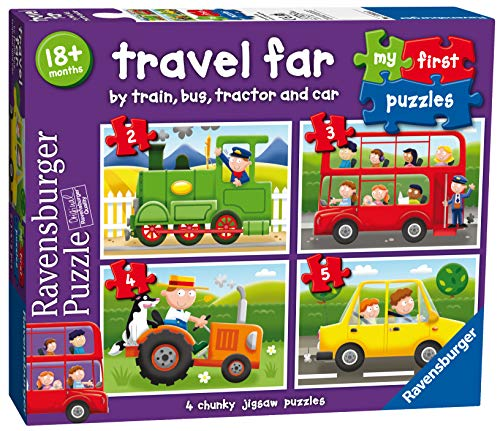 Ravensburger Travel Far, My First Jigsaw Puzzles (2, 3, 4 & 5 Piece) Toddler Toy for Kids 18 Months and Up