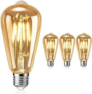 Vintage Edison Bombilla, otutun Bombilla LED Vintage E27 4W (equivalente a 40W) 2700K 380LM Bombillas Retro Decorativa Ambar Cálido Blanco Bombillas Incandescentes - 3 Unidades