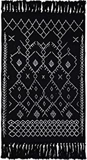 Wolala Home 100% Cotton Hand Woven Reversible Rag Rug Black and White Striped Tassels Design Handmade Area Rug Livingroom/Entryway 2x3 Feet Machine Washable Rug Pad (23''x35'', Black)