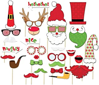 LUOEM Christmas Photo Booth Props Kit 29 Pcs Funny Xmas DIY Selfie Props Happy Christmas Photo Props on a Stick for Party Supplies with Glasses Moustache Red Lips Deer Horn Santa Hat