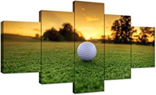 AMEMNY 5 Panel Canvas Modern Wall Art Golf Backgrounds Painting Posters and Artwork HD Prints Pictures Decor for Living Room Framed Stretched Ready to Hang