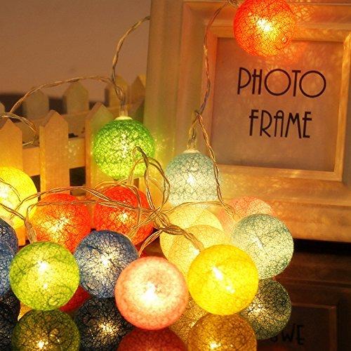 ELINKUME LED Lampion Lichterkette 20er Partylichterkette Deko für Innen Balkon Party Hochzeit Feiertag batterie-betrieben Kugeln/Bälle Lampions 3.3m bunt