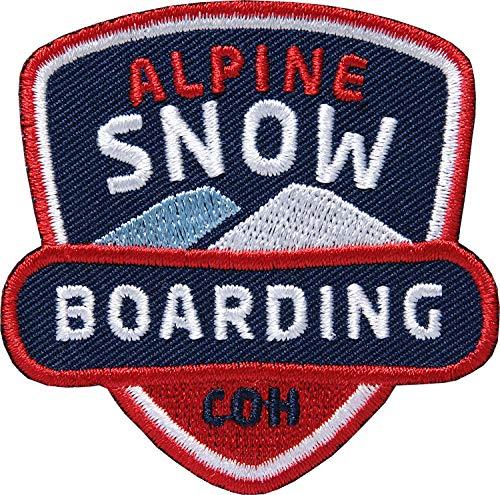 2 x Snowboard Aufnäher gestickt 62 mm / Snow-Boarding Patches zum Aufnähen Aufbügeln auf Jacke Kleidung Rucksack / Ski Wintersport Freestyle Freeride Patch Aufbügler Sticker Flicken Bügelflicken