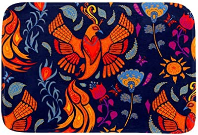 EGGDIOQ Doormats Beautiful Firebird and Blue Flowers Custom Print Bathroom Mat Waterproof Fabric Kitchen Entrance Rug, 23.6 x 15.7in