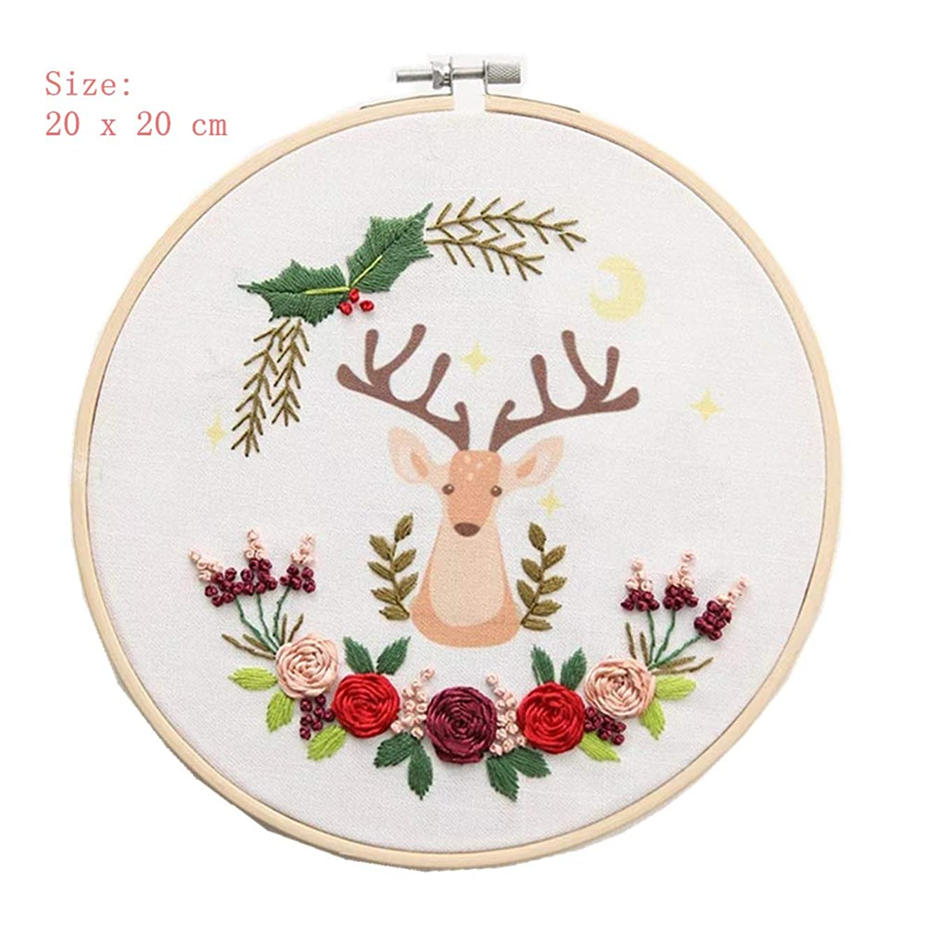 Hand Embroidery DIY Wooden Cross Stitch Hoop Mini Ring Embroidery Circle Sewing Kit Frame Craft (Christmas Deer)