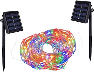 Solar String Lights,100 LED Copper Wire Fairy Blinking Twinkle Waterproof Tree Outdoor Yard Patio Home Garden and for Party Holiday Wedding Decorative Light Colorful 2PACK