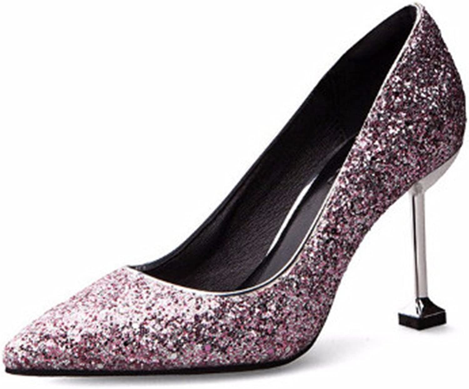 Gusha Tip Toe Sequins Matte Heels Party Prom Evening Dresses Sexy Stilettos