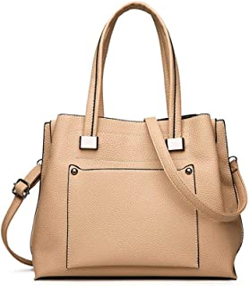 Shoulder Bag Bag Women Leather Large-Capacity Handbag Shoulder Fashion Handbag Clutch (Color : Beige)