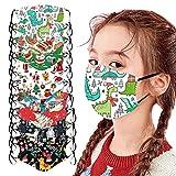 WoWer 10 Stück Kinder Mundschutz Multifunktionstuch 3D Cartoon Druck Maske Animal Weihnachten Print Atmungsaktive Baumwolle Stoffmaske Waschbar Mund-Nasenschutz Tiermotiv Halstuch Jungen Mädchen