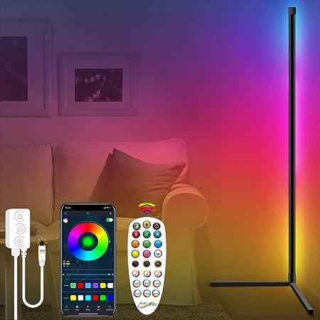 Fortand Lampadaire LED Salon, RGB Lampadaire sur Pied D'angle Lampe D'intérieur Éclairage Décoratif Lampe Debout Luminosité des Couleurs Réglable Lampadaire LED avec Télécommande, pour Chambre Salon