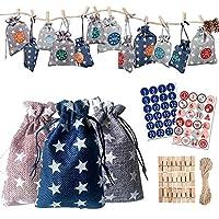 ギフトバッグ クリスマス ラッピング袋 巾着袋 24枚セット 小 麻素材 リネンお菓子バッグ プレゼント入れ 小物入れ 収納袋 ジュエリーポーチ