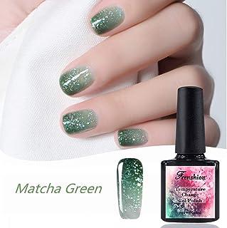 10ML Chameleon Temperature Color Changing Gel Nail Polish Soak-off UV LED Gel Polish, with Pearlescent Particles Laser Sequins Color Matcha Green