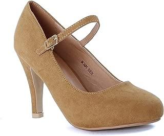 Guilty Heart Women's Almond Toe Comfortable Mid Kitten Heel Mary Jane Faux Suede Pump Shoes