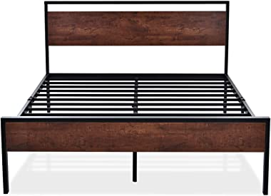 SHA CERLIN 14 Inch Queen Size Metal Platform Bed Frame with Wooden Headboard and Footboard, No Box Spring Needed / Mattress F