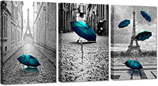 Hello Artwork 3 Pieces Canvas Wall Art Paris Eiffel Tower With Blue Umbrella Black And White Cityscape Contemporary Art Romantic Picture Stretched And Framed For Modern Home Office Decor Ready To Hang
